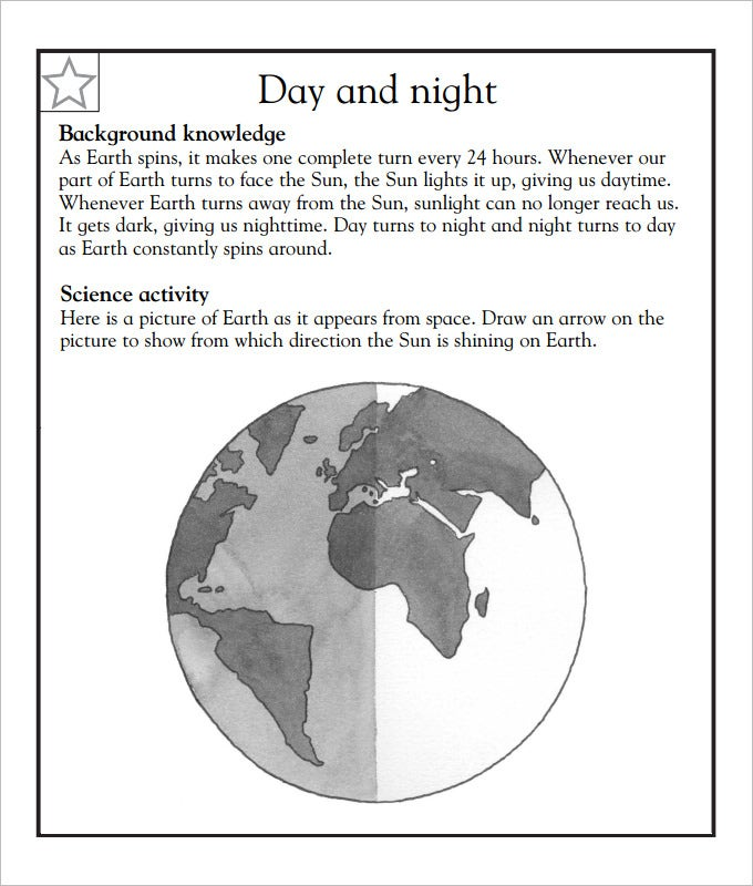 day and night language art worksheet template