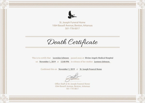 Sample Death Certificate Templates  Pdf Doc  Free  Premium