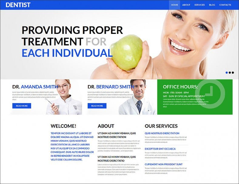 dental health and care joomla template 788x608