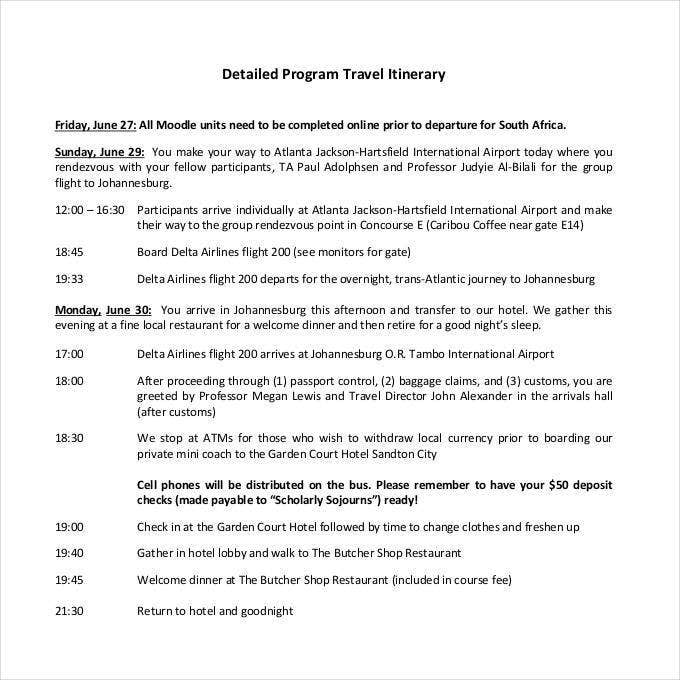 detailed program travel itinerary1