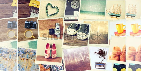 different objects psd digital album templates