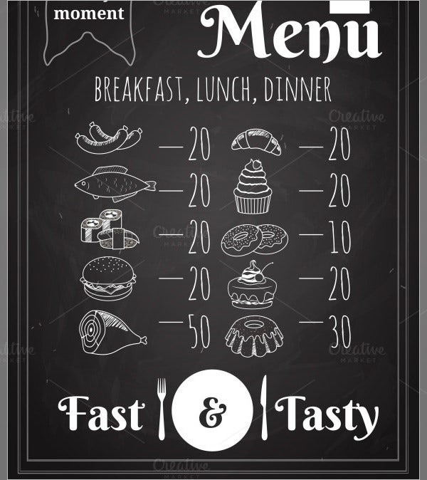 dinner food menu template