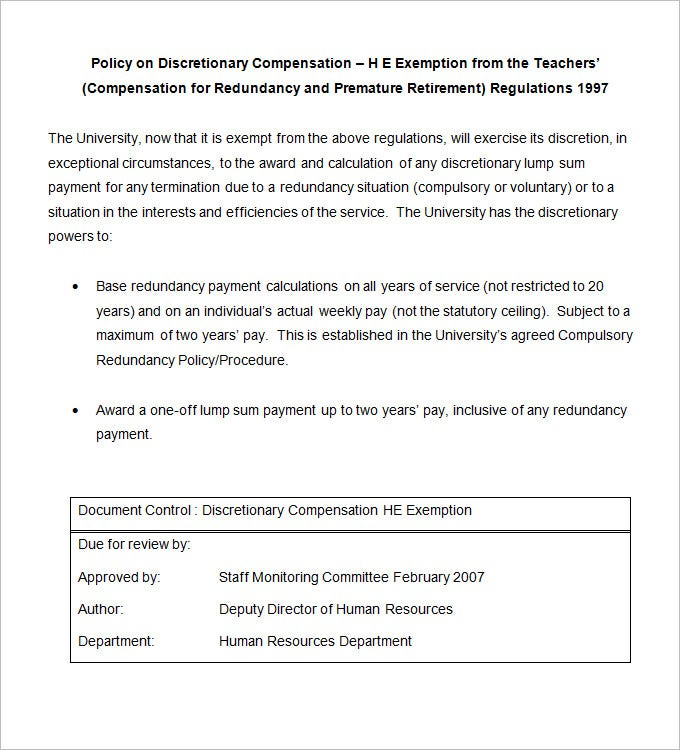 discretionary compensation he exemption template