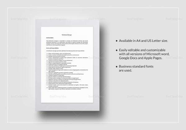 distribution manager job description template