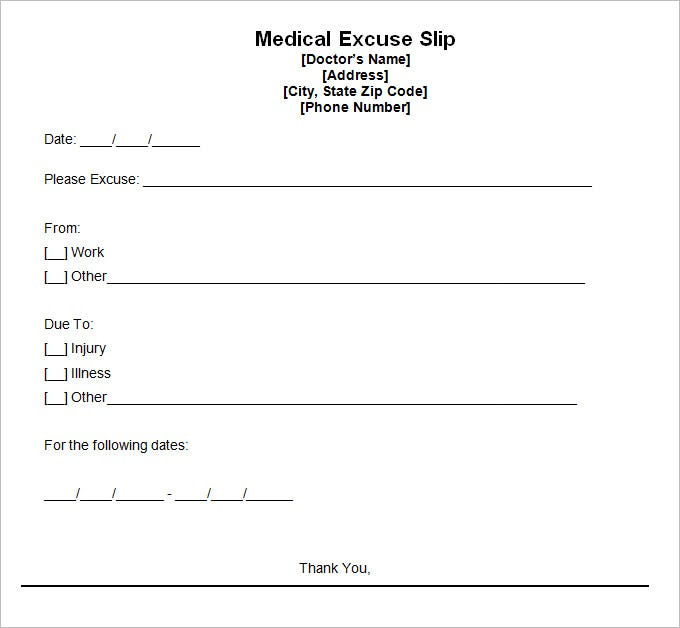 Doctor Excuse Template   Free Word Excel Pdf Format Download