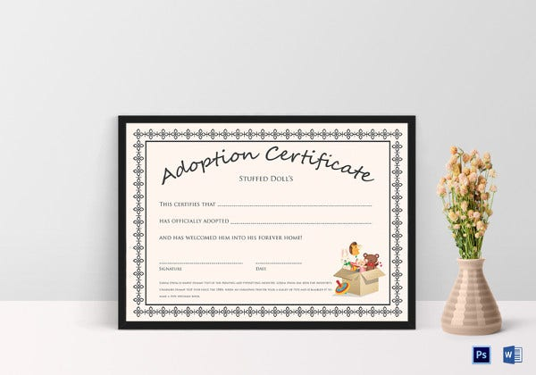 doll adoption certificate template2