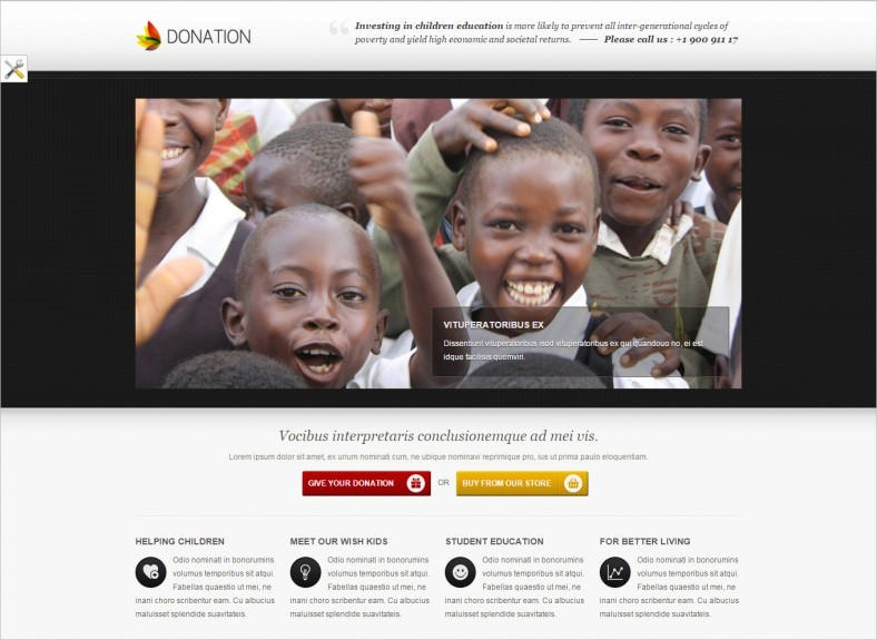donation landing page template responsive 788x575