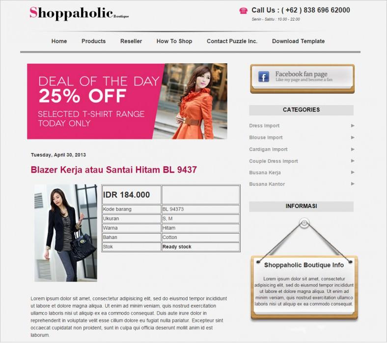 download free fashion boutique blgoger theme 788x699