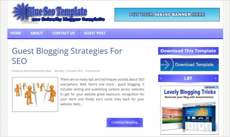 download free guest blue blogger template 788x469