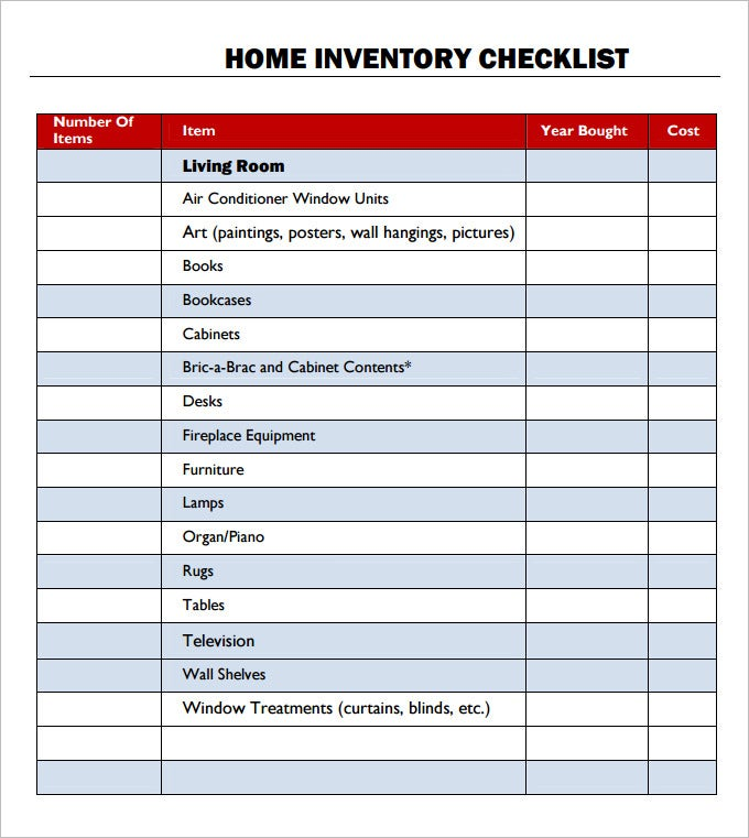 Inventory Checklist Template 22 Free Word PDF Documents – Household Inventory List Template