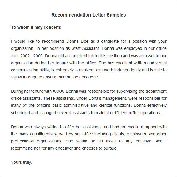 20 Employee Recommendation Letter Templates HR Templates – Sample Recommendation Letter from Employer for Job