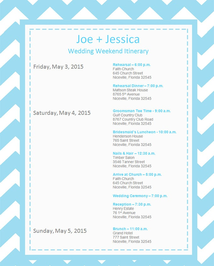 download wedding event itinerary template