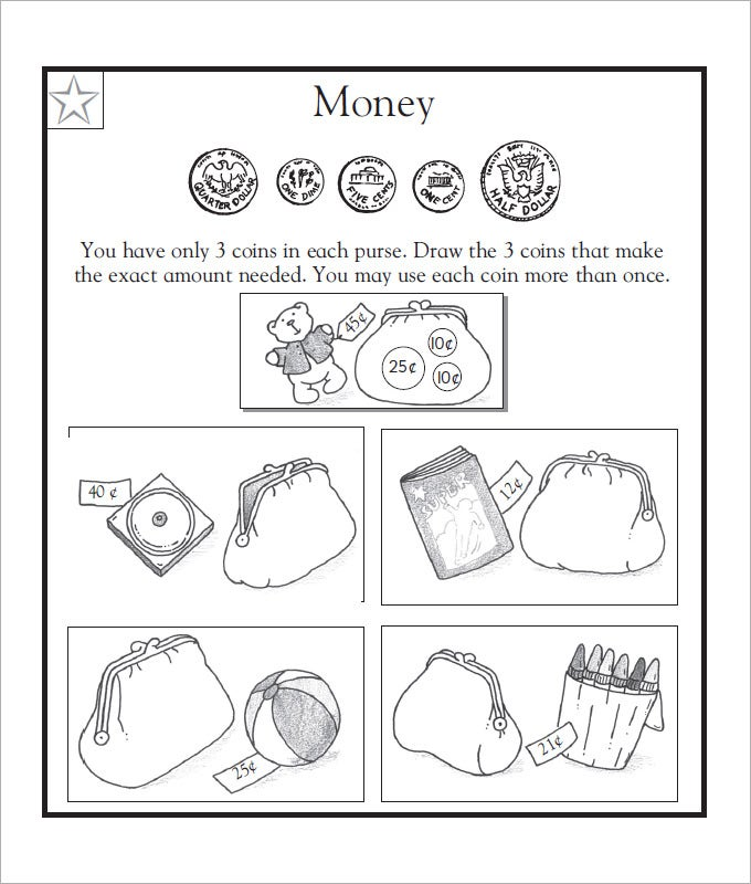 Sample Kids Money Worksheet Templates   Free Pdf Documents