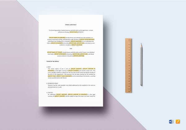 easy to print rental agreement