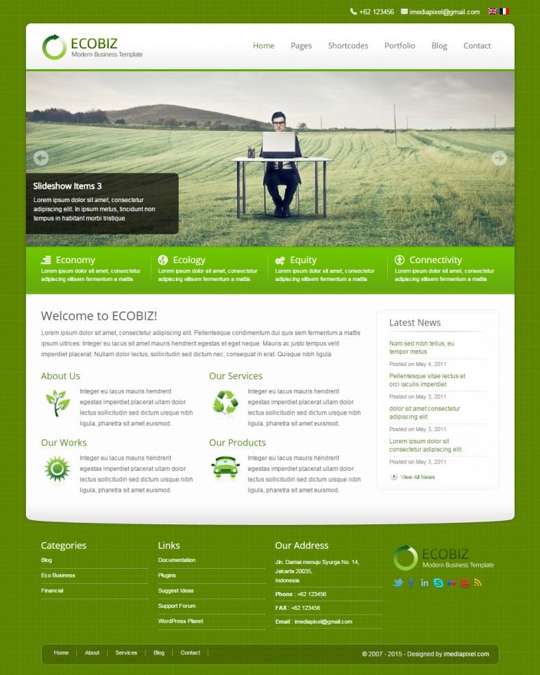Free herbal wordpress theme for organic fresh green eco friendly sites.