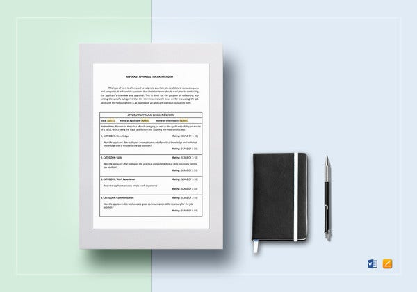 editable applicant evaluation form template