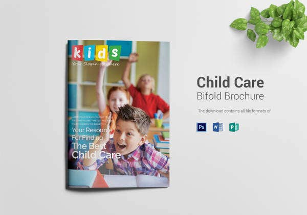 editable child care bi fold brochure template