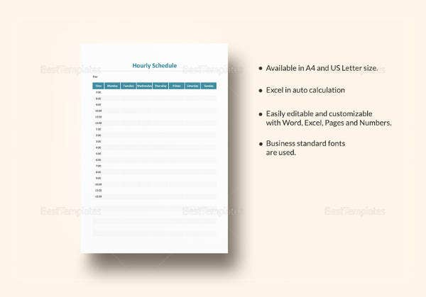 editable daily hourly schedule template