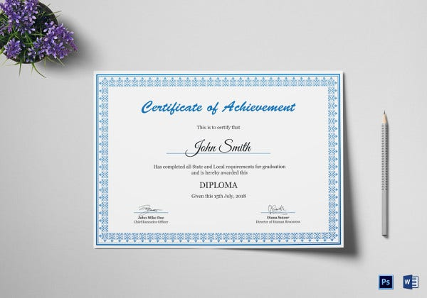 24 best diploma certificate psd templates free premium templates editable diploma achievement certificate template yadclub Images