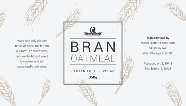 editable food label template