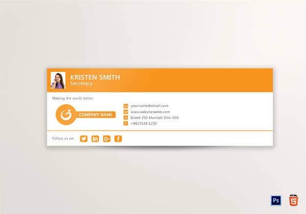 editable outlook email signature in psd