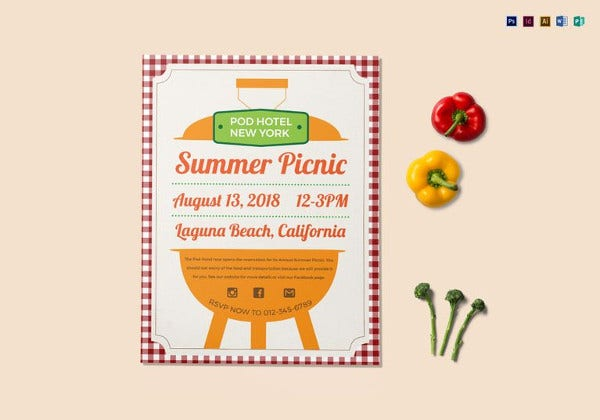 editable summer picnic flyer template