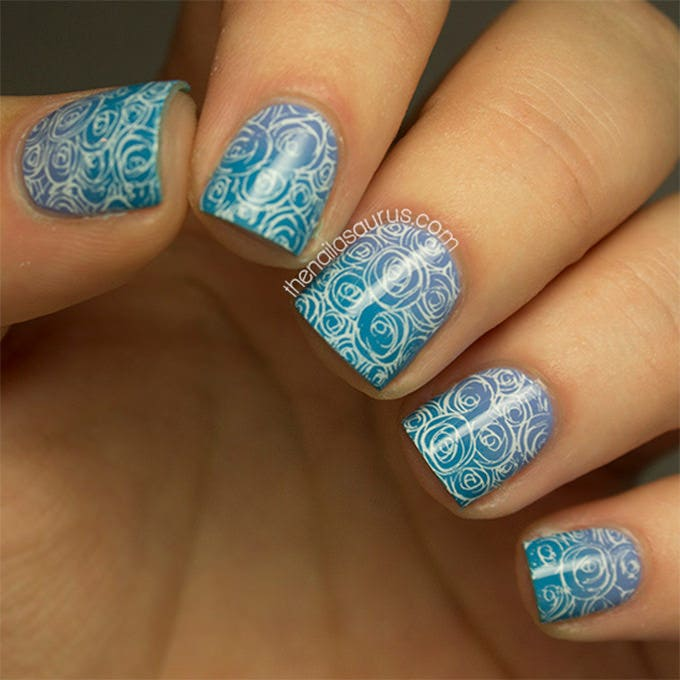 electric blue nail design