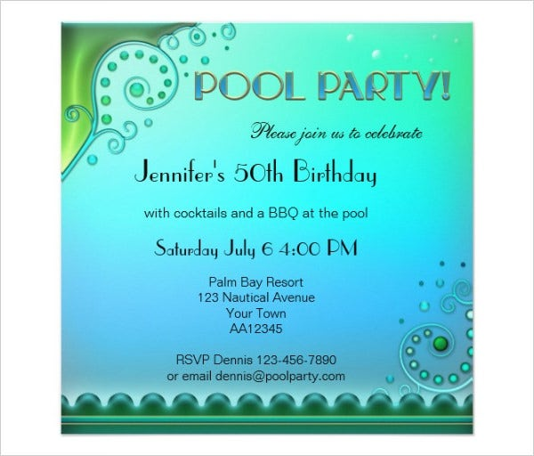 Elegant Aqua Pool Party Invitation Template