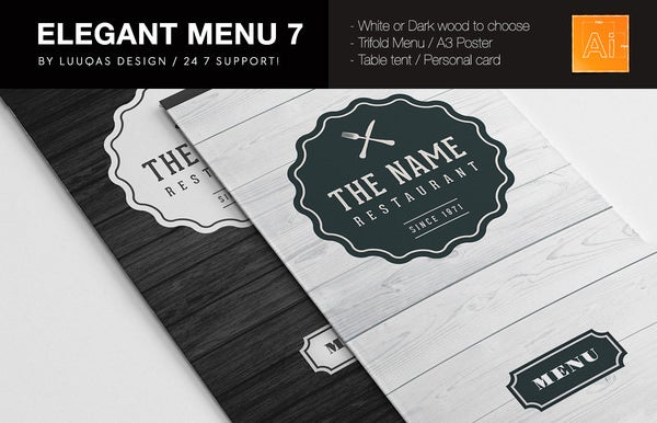 elegant food menu card template download