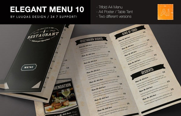 elegant food menu card template