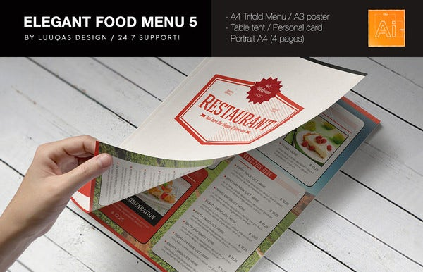 elegant food menu card