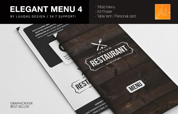 elegant food menu template