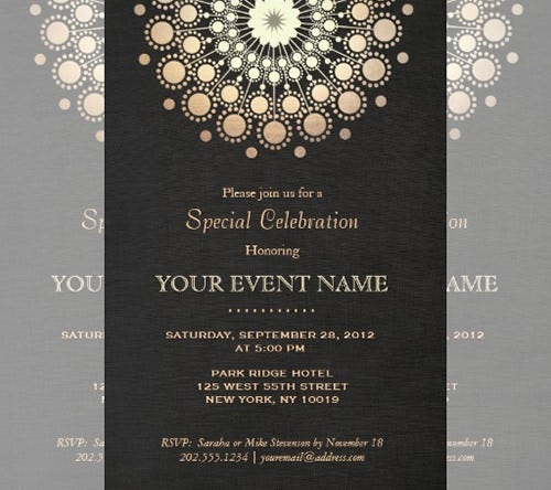 Awesome Elegant Gold Circle Formal Invitation Template