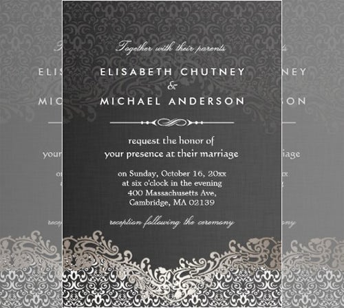 elegant silver damask formal invitation template