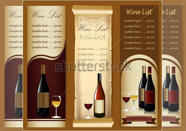 Elegant Wine Menu With Wine Glass And Bottle  Free Wine List Template