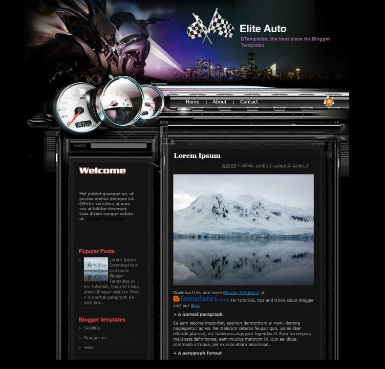 elite auto automobile responsive blogger template 788x755