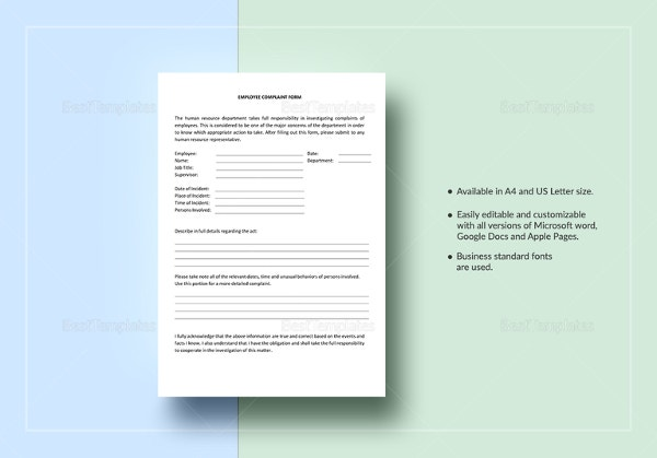 employee complaint form template1