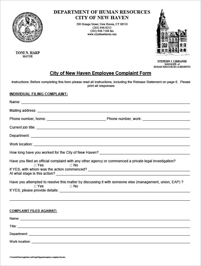 hr complaint forms free sample example format free - Hr Form