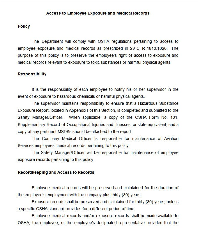 Employee Record Templates -30+ Free Word, PDF Documents Download ...