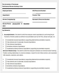 employee performance evaluation form - Hr Form