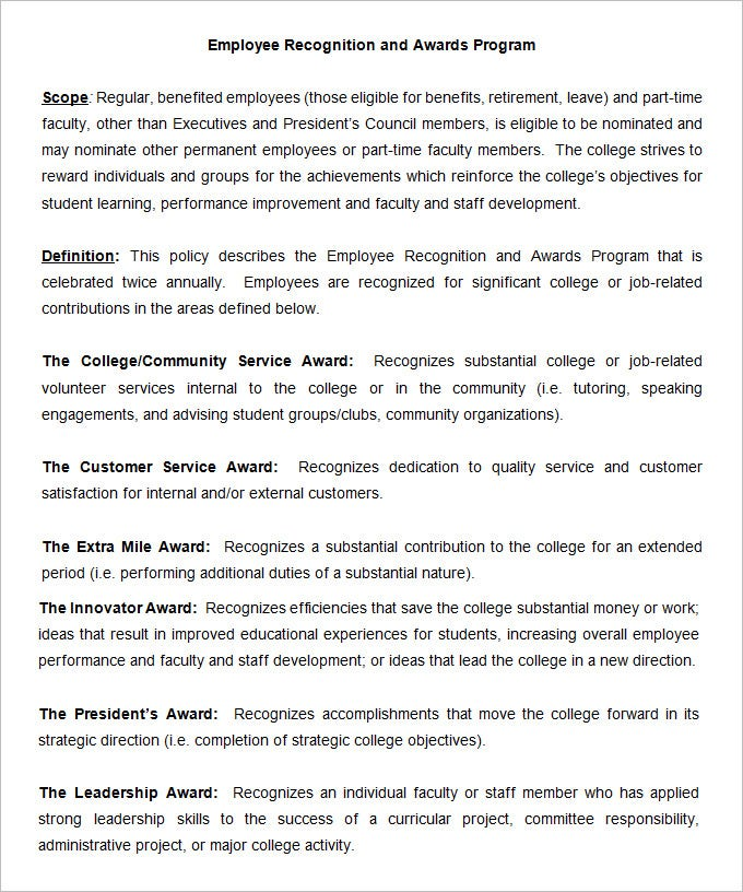 employee recognition and awards program