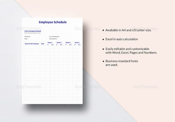 employee schedule template in ipages