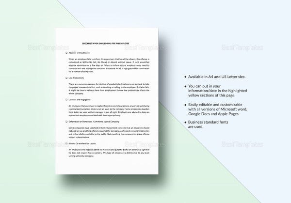 employee termination checklist template