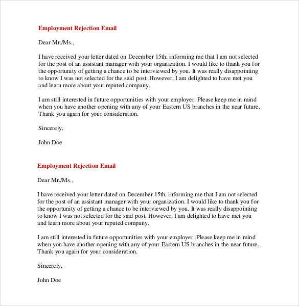 employment rejection email letter