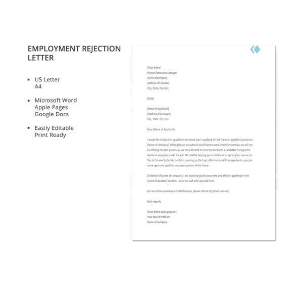 27 rejection letters template hr templates free premium employment rejection letter template yelopaper Images