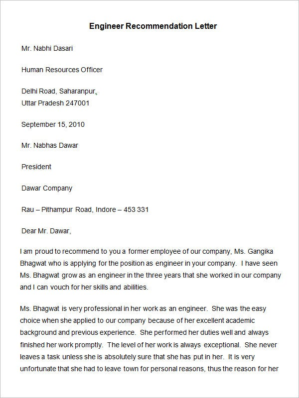 Superb Engineer Recommendation Letter Template