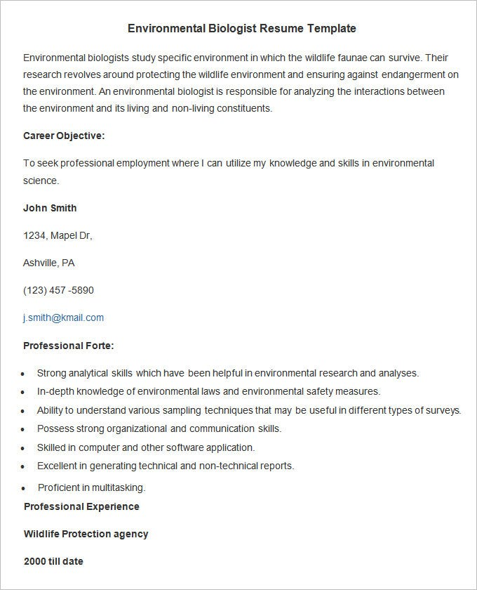 environmental biologist resume template free download. Resume Example. Resume CV Cover Letter