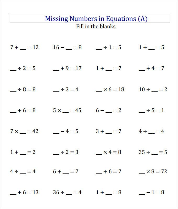equations missing numbers worksheet template