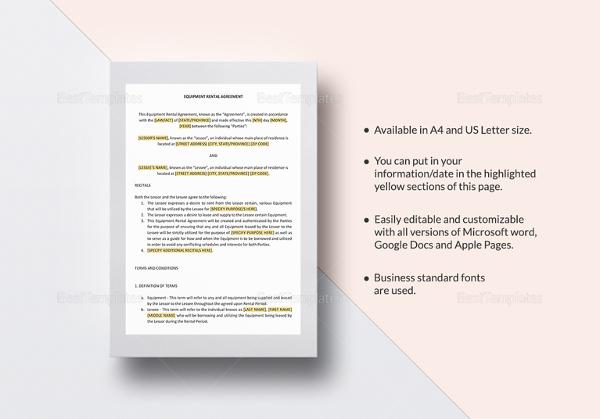 equipment rental agreement template2