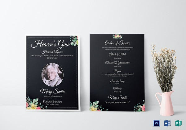 eulogy funeral invitation card word template